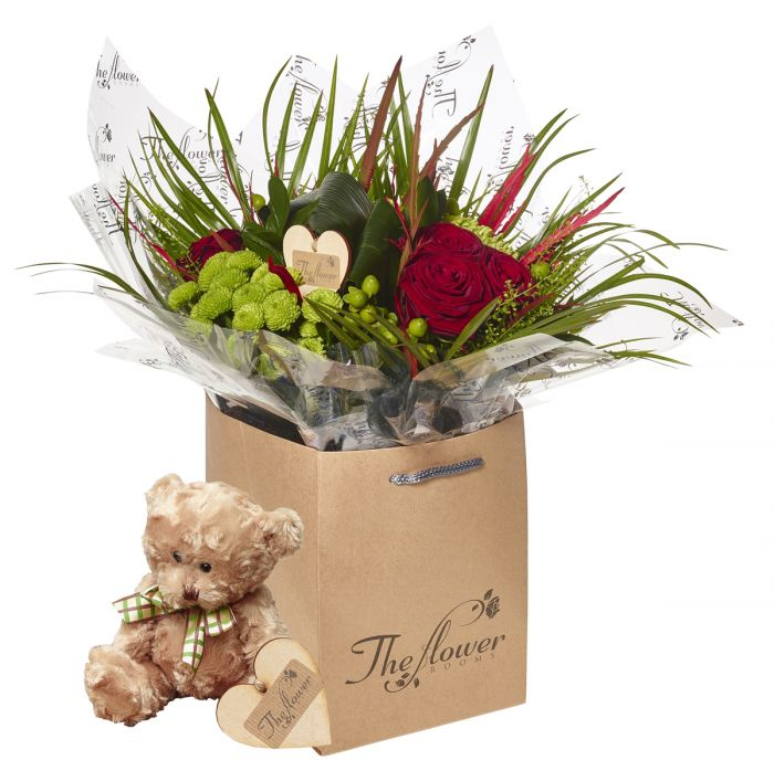 Luxury Grouped Hand Tied Bouquet Flower Gift With Teddy Bear ...