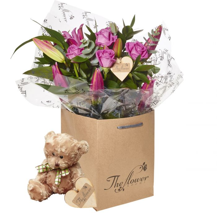 Pink Rose And Lily Hand Tied Bouquet Flower Gift With Teddy Bear ...