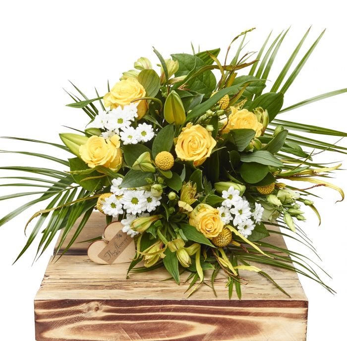 Lemon And White Hand Tied Bouquet Birthday Flowers Congratulations