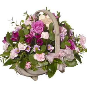 Perfect Pinks Baby Girl Basket Arrangement - Flowers Gift