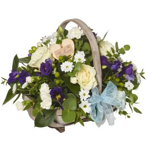 Beautiful Blues Baby Boy Basket Arrangement - Flowers Gift