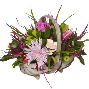 Modern Pinks Basket Arrangement Sorry Flowers Love You And Anniversary Gifts