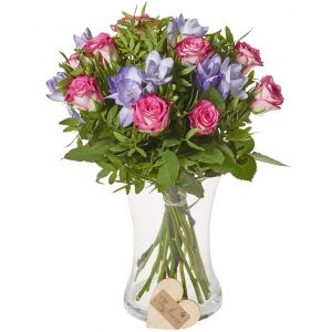 Classic Rose And Freesia Mixed Bunch Flower Gift Birthday Flowers Congratulations Thank You Bouquets