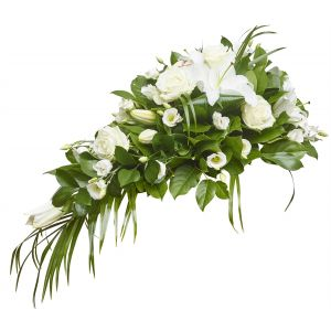 White Lily And Rose Funeral Spray Sorry Flowers Love You And Anniversary Bouquets