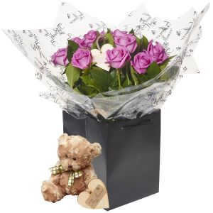 Pink Passion A Dozen Pink Roses Flower Gift With Teddy Bear - Gorgeous Fresh Flower Gift