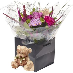 Mini Perfect Pinks Hand Tied Flower Gift With Teddy Bear - Gorgeous Fresh Flower Gift