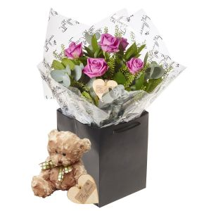 Half Dozen Pink Passion Roses Flower Gift With Teddy Bear - Gorgeous Fresh Flower Gift