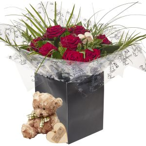 Valentines Radiant Reds Dozen Red Roses Flower Gift With Teddy Bear - Gorgeous Fresh Flower Gift