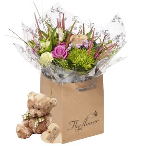 Compact County Hand Tied Flower Gift With Teddy Bear - Gorgeous Fresh Flower Gift