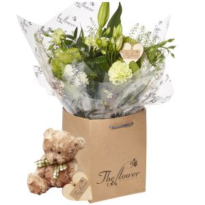 Contemporary Greens And Whites Hand Tied Flower Gift With Teddy Bear - Gorgeous Fresh Flower Gift