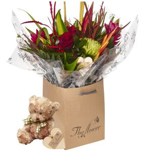 Exotic Hand Tied Bouquet Flower Gift With Teddy Bear - Gorgeous Fresh Flower Gift