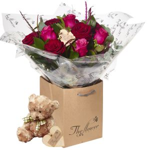 Scarlet Pinks Two Half Dozens Flower Gift With Teddy Bear - Gorgeous Fresh Flower Gift