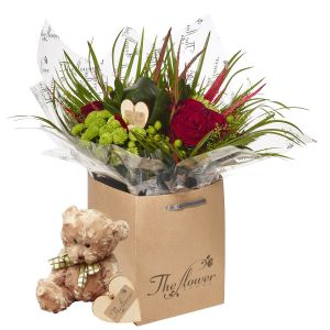 Luxury Grouped Hand Tied Bouquet Flower Gift With Teddy Bear - Gorgeous Fresh Flower Gift