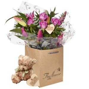 Pink Rose And Lily Hand Tied Bouquet Flower Gift With Teddy Bear - Gorgeous Fresh Flower Gift
