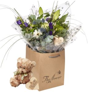 Meadow Blues Hand Tied Bouquet Flower Gift With Teddy Bear - Gorgeous Fresh Flower Gift
