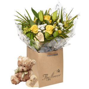 Lemon And White Hand Tied Bouquet Flower Gift With Teddy Bear - Gorgeous Fresh Flower Gift