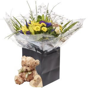 Citrus Blues Hand Tied Bouquet Flower Gift With Teddy Bear - Gorgeous Fresh Flower Gift