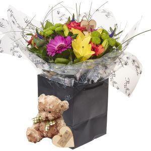 Beautiful Brights Hand Tied Bouquets Flower Gift With Teddy Bear - Gorgeous Fresh Flower Gift