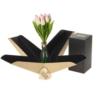 Artifical Soft Pinks Tulip Vase In Gift Box - Flower Gift - Tulip Gift Box - Flower Vase Gift Box