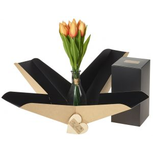 Artifical Yellow Tulip Vase In Gift Box - Flower Gift - Tulip Gift Box - Flower Vase Gift Box