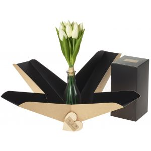 Artifical White Tulip Vase In Gift Box - Flower Gift - Tulip Gift Box - Flower Vase Gift Box