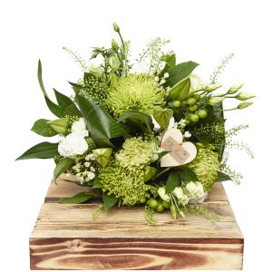 Contemporary Greens And Whites Hand Tied Sorry Flowers Love You And Anniversary Bouquets