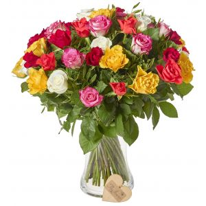 50 Rainbow Rose Bouquet Birthday Flowers Congratulations Thank You Bouquets