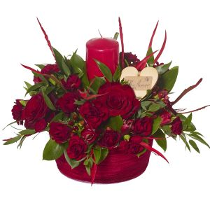 Romantic Reds Candle Arrangement Birthday Flowers Congratulations Thank You Bouquets