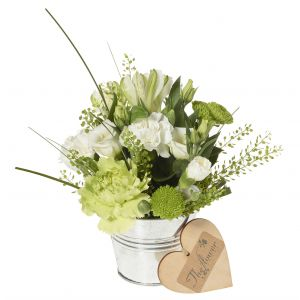 Tiny Tin Of White Flowers - Flower Gift - Table Decoration - Tiny Flower Gift