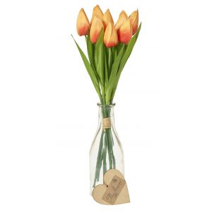 Artificial Vase Of Tulips Yellow - Flower Gift - Table Flowers Gift - Table Decoration