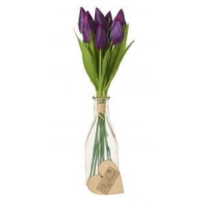 Artificial Vase Of Tulips Purple - Flower Gift - Table Flowers Gift - Table Decoration