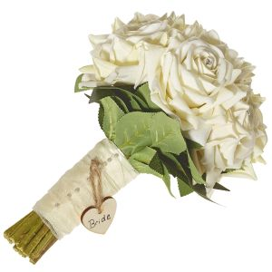 Brides Diamante Cream Rose Hand Tied Bouquet