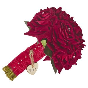 Brides Diamante Red Rose Hand Tied Bouquet