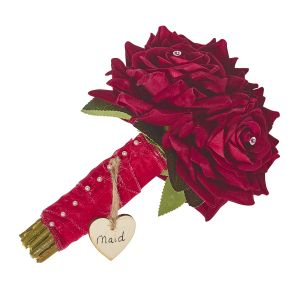 Bridesmaids Diamante Red Rose Hand Tied Bouquet